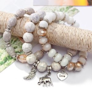 Boho Chunky Beaded Charm Bracelet